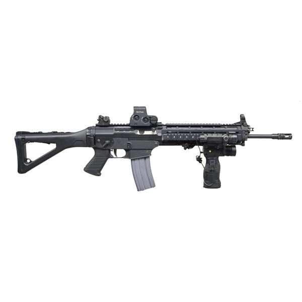 SIG 5.56 RIFLE WITH FACTORY FOLDING STOCK.
