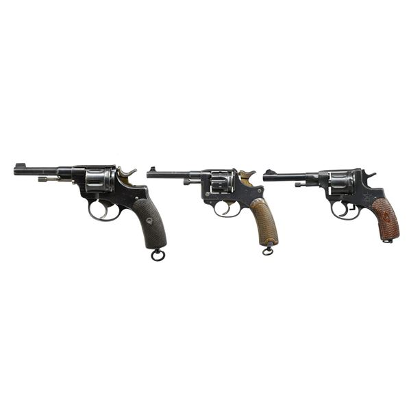 3 MILITARY REVOLVERS FROM RUSSIA, FRANCE, &