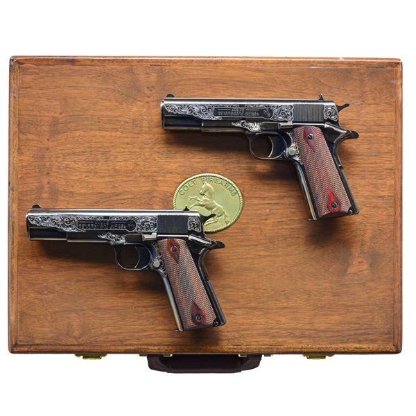 PAIR OF CONSECUTIVELY NUMBERED & ENGRAVED COLT