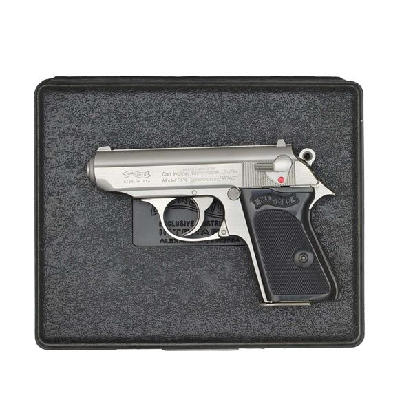 WALTHER STAINLESS STEEL PPK SEMI-AUTO PISTOL.
