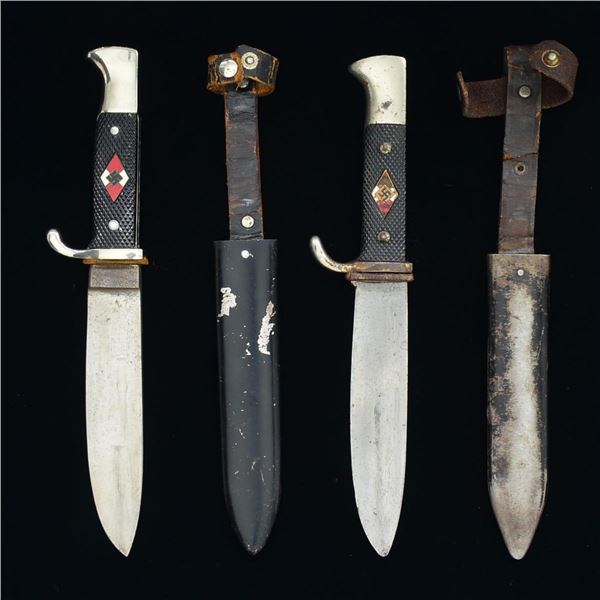 2 WWII GERMAN HITLER YOUTH KNIVES.
