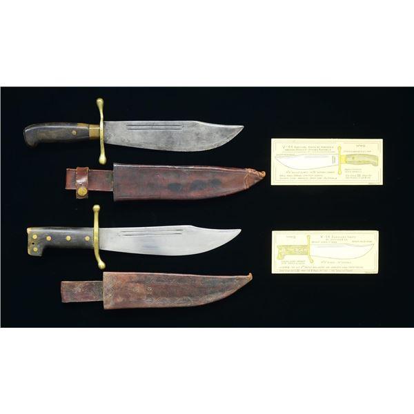 PAIR OF FINE WW2 V-44 SURVIVAL KNIVES.