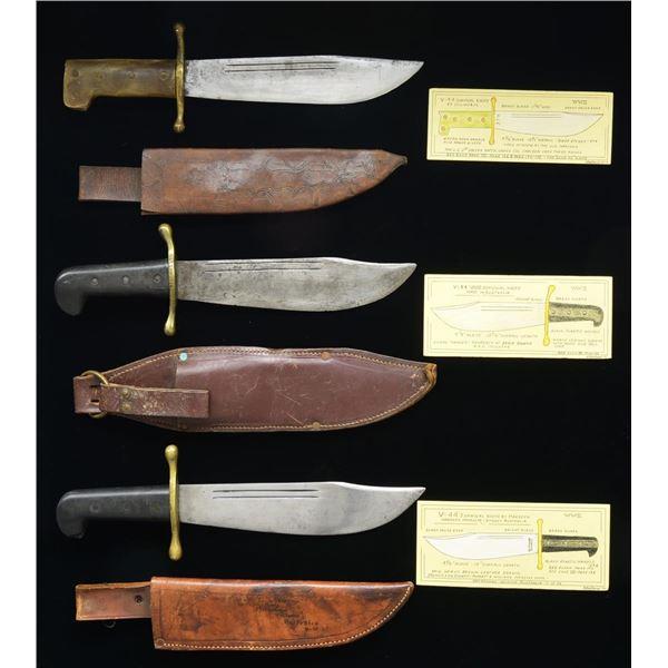 3 FINE WW2 V-44 SURVIVAL KNIVES.