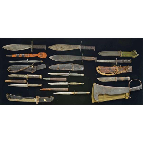 13 FIGHTING KNIVES & SURVIVAL MACHETES.