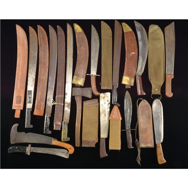 33 MOSTLY US MACHETES & BOLO KNIVES.