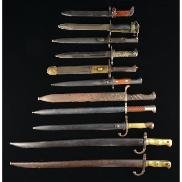 11 EUROPEAN BAYONETS & 1 FIGHTING KNIFE.