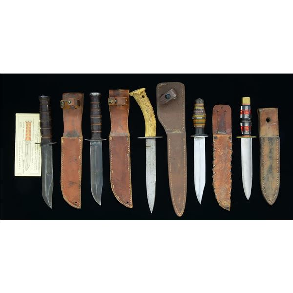 5 WWII FIGHTING KNIVES.