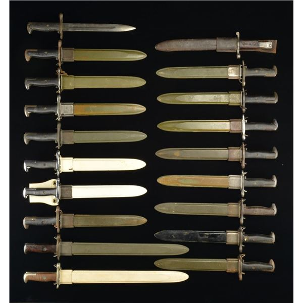 21 MOSTLY AMERICAN BAYONETS, 1 FIGHTING KNIFE & 1