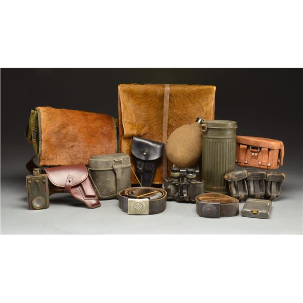 WWII GERMAN FIELD EQUIPMENT & RELATED ITEMS.