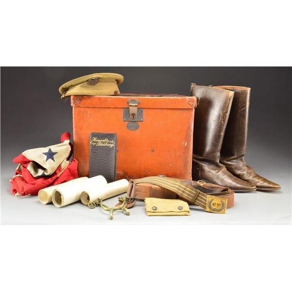 BOX OF MILITARY BELTS, FLAGS & MORE.