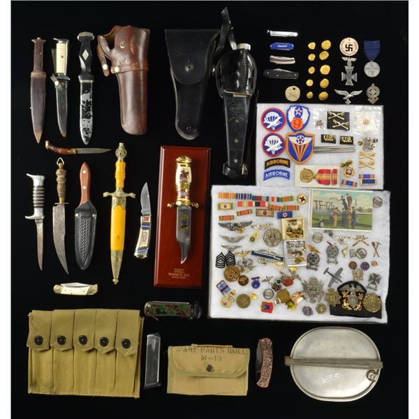 US MILITARIA, KNIVES, WEB GEAR, BUTTONS,