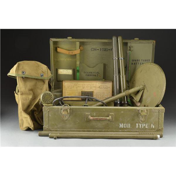 US WWII MINE DETECTOR SET & 2 TANK TELESCOPES.