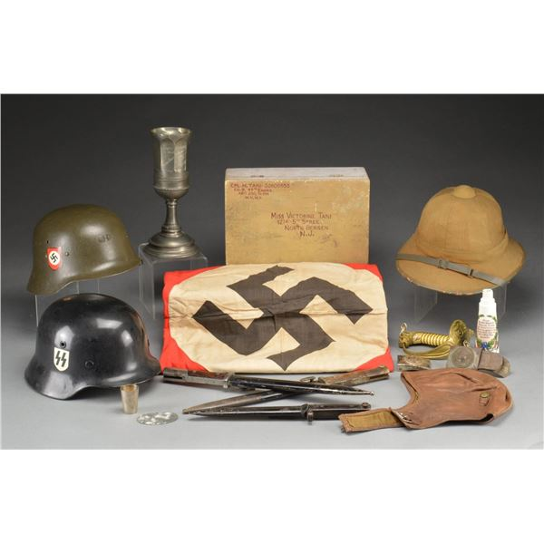 LARGE GROUP OF WWII GERMAN FLAGS & OTHER MILITARIA