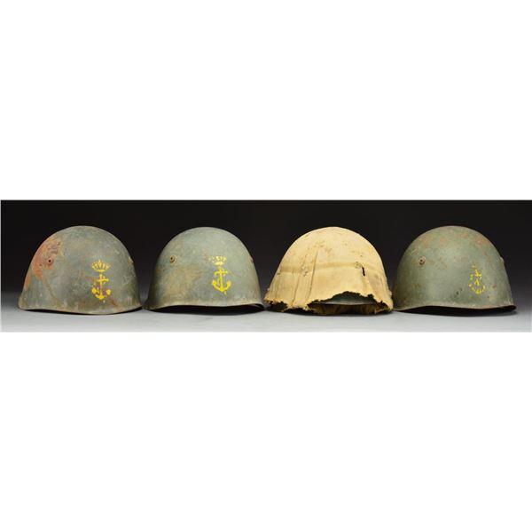 4 WWII ITALIAN NAVY HELMETS.