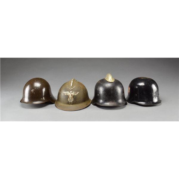 4 WWII GERMAN & ASSOCIATED HELMETS.