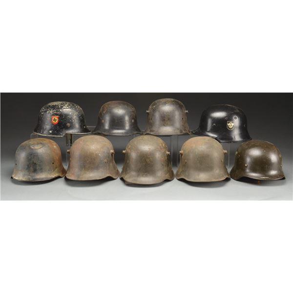 WWI & WWII GERMAN HELMETS.