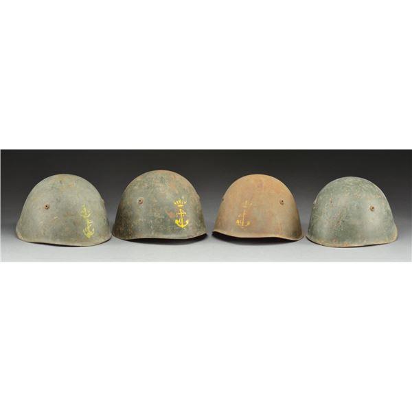 4 WWII ITALIAN HELMETS.