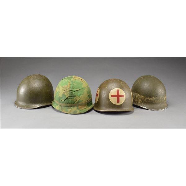 4 WWII US M1 HELMETS.