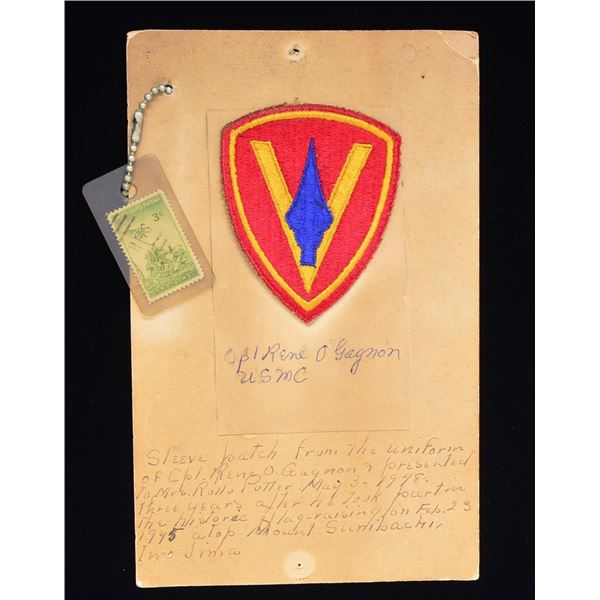 FIFTH US MARINE PATCH BELONGING TO CORPORAL RENE