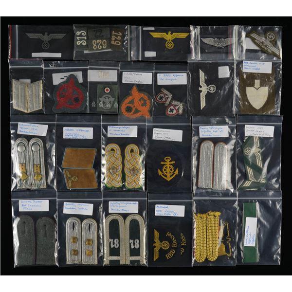 WWII GERMAN SHOULDER STRAPS, CLOTH & INSIGNIA.
