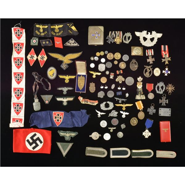LARGE GROUP OF WWII GERMAN MEDALS, BADGES,