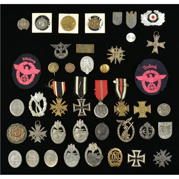 LARGE LOT OF MOSTLY WWII GERMAN MEDALS, BADGES,