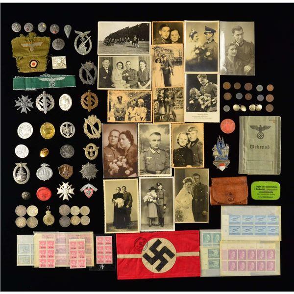 WWII GERMAN BADGES, PINS, CLOTH, COINS, TINNIES
