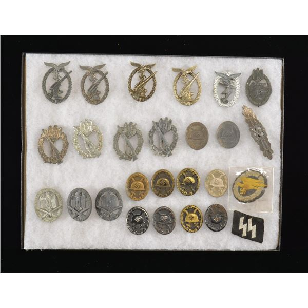 GROUP OF WWII GERMAN BADGES & MORE.