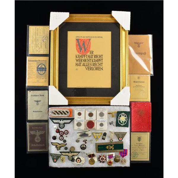 WWII GERMAN MILITARIA, COINS, EPHEMERA & 5 RUSSIAN
