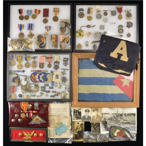 MILITARY MEDALS, PATCHES, EDGED WEAPONS, FLAGS &