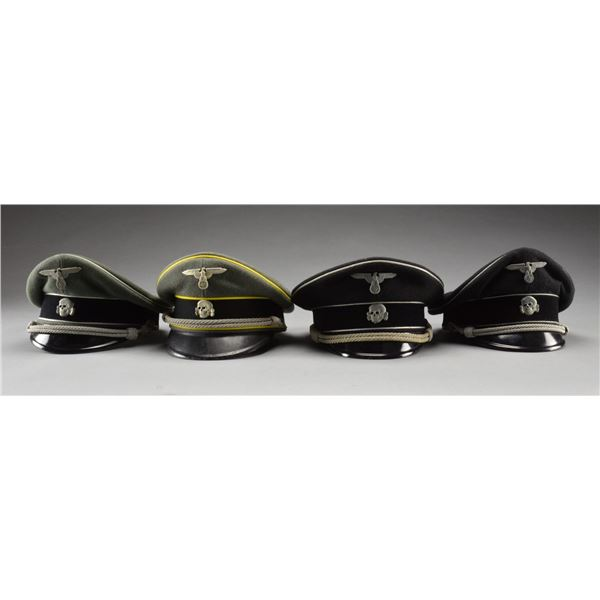 4 REPRODUCTION WWII GERMAN SS PEAKED CAPS.