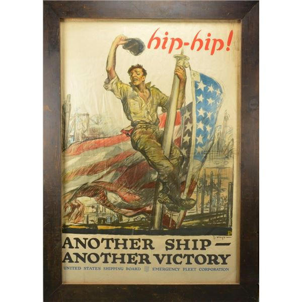 LARGE WWI UNITED STATES SHIPPING BOARD POSTER.