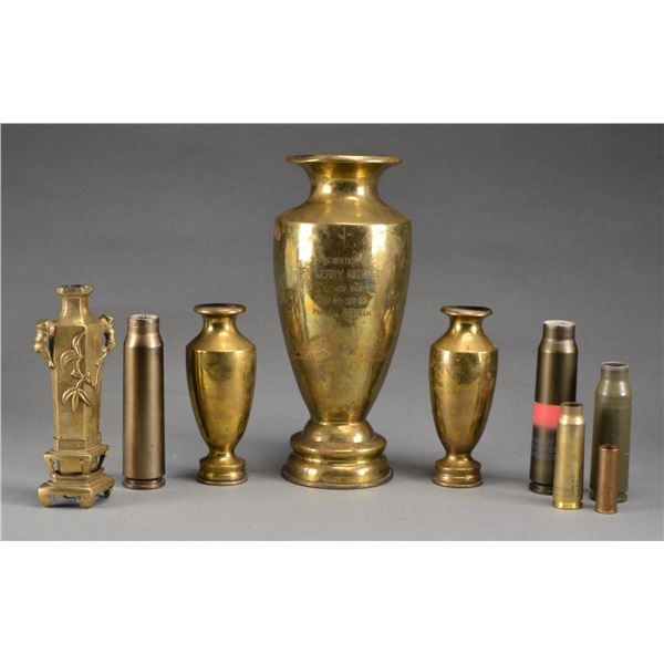 BRASS TRENCH ART, CHINESE VASE & SHELL CASES.