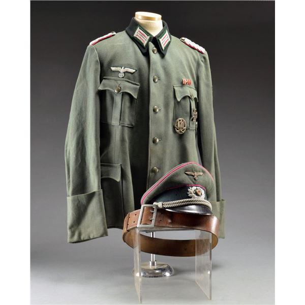 WWII GERMAN TUNIC, VISOR CAP & BELT FOR MAJOR