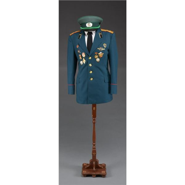 RUSSIAN MILITARY UNIFORM WITH HAT & STAND.