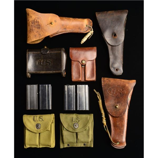 VARIOUS U.S. HOLSTERS, POUCHES & 4 CARBINE MAGS.