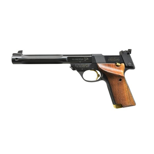 HI STANDARD SUPERMATIC TROPHY SEMI AUTO PISTOL.