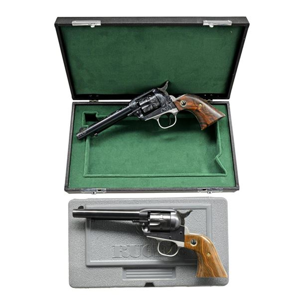 2 RUGER NEW MODEL ENGRAVED NUMBERED SINGLE-SIX