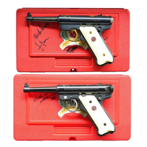 2 RUGER COMMEMORATIVE MKII SEMI-AUTO PISTOLS WITH
