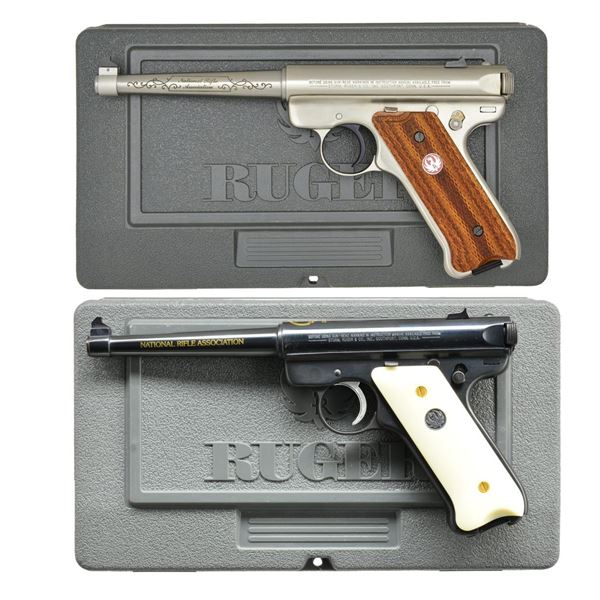 2 RUGER NRA EDITION MARK II SEMI-AUTO PISTOLS.