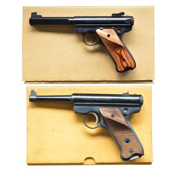 2 RUGER BLUED 22 LR SEMI-AUTO PISTOLS.