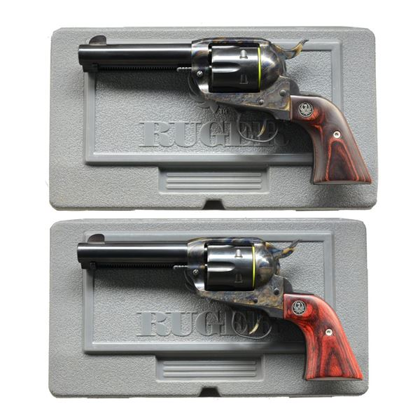 2 RUGER NEW VAQUERO TYLER CASE COLORED REVOLVERS.