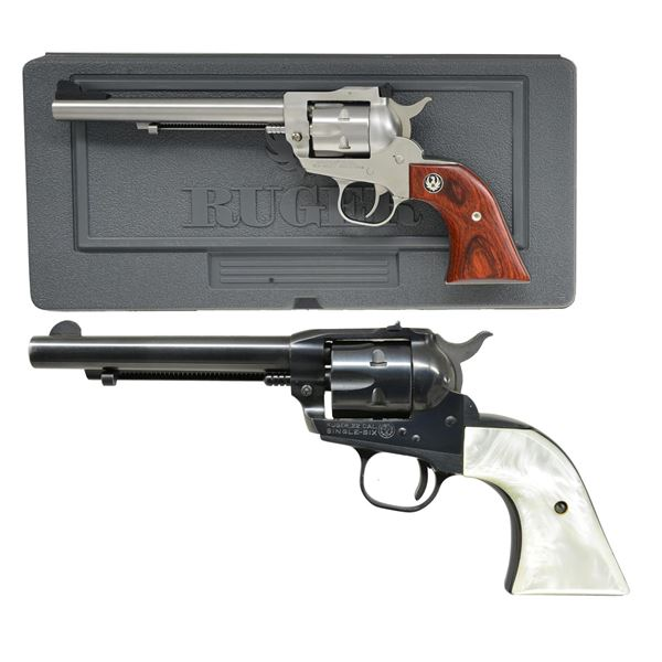 2 RUGER SINGLE-SIX REVOLVERS; NM & OM.