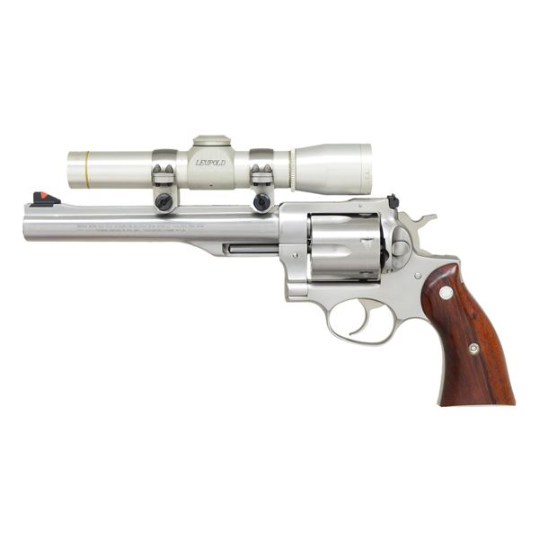 RUGER STAINLESS REDHAWK REVOLVER.