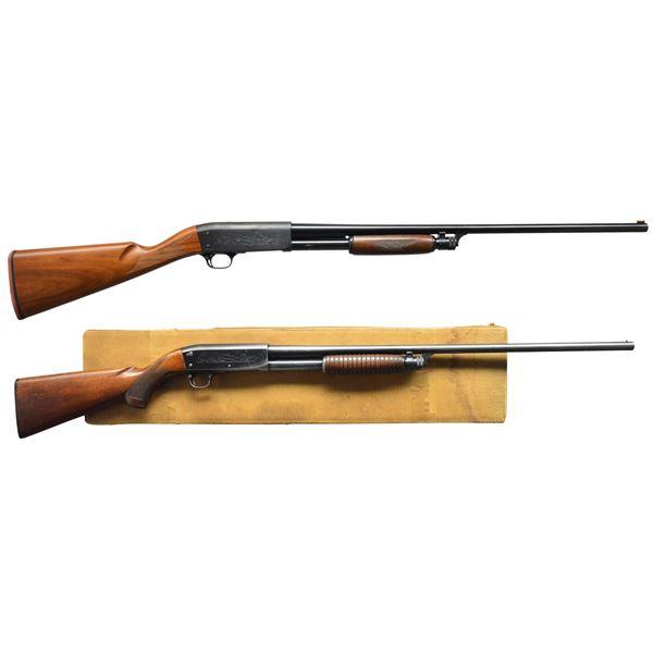 2 ITHACA MODEL 37 FEATHERLIGHT PUMP SHOTGUNS.