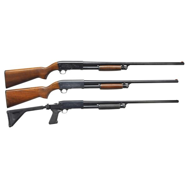 3 ITHACA MODEL 37 PUMP SHOTGUNS.