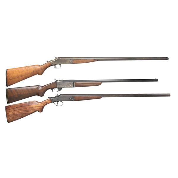 H&R, COMPANHIA & DAVENPORT SINGLE SHOT SHOTGUNS.