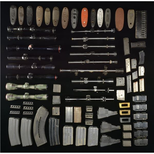 INTERESTING GROUPING OF SCOPES, MAGAZINES,