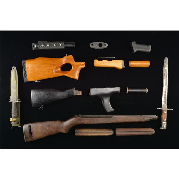 LARGE LOT OF STOCKS, BAYONETS & MAGAZINES.