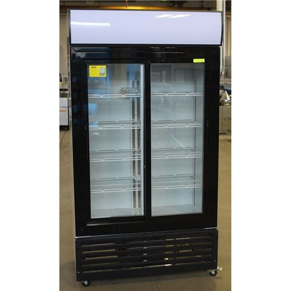 NEW 1000L UPRIGHT DOUBLE SLIDING GLASS DOOR COOLER